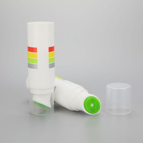 40g plastic cosmetic tube deodorant container face wash tube with silicone brush and a clear cover