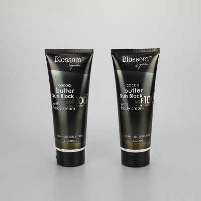 226g/8oz body skin care lotion cream cosmetic plastic packaging tube with black flip top cap