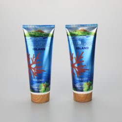 226g/8oz body cream aluminum plastic packaging empty tube with bamboo screw cap