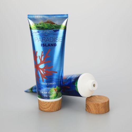 226g/8oz body cream aluminum plastic packaging empty tube with bamboo screw cap