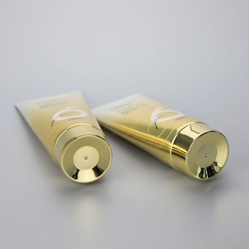 6oz/180g high glossy shiny material gradient golden color aluminum body care plastic tube with golden screw cap