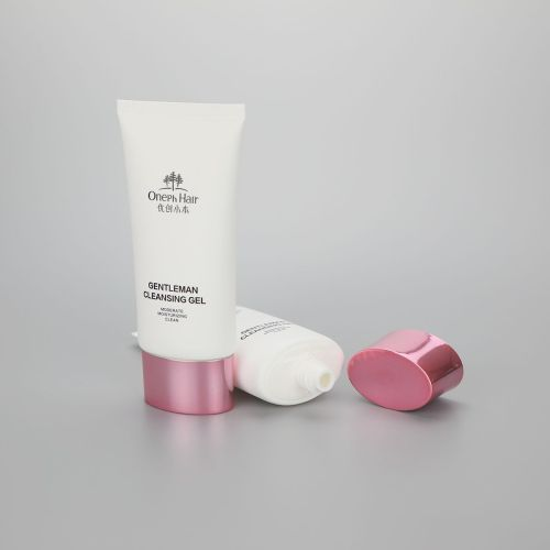 120ml oval cosmetic plastic gentleman cleansing gel tube with shiny rose gold cap