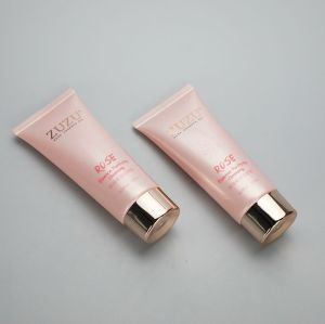 100ml pink cosmetic plastic squeeze tube packaging for facial cleanser with golden screw cap