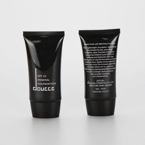 50ml glossy black oval cosmetic BB CC cream tube with flip top cap