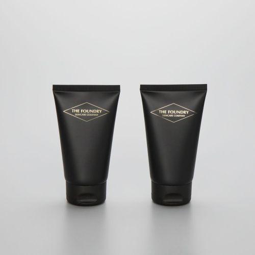 100ml matte black cosmetic plastic men facial cleanser tube with black flip top cap