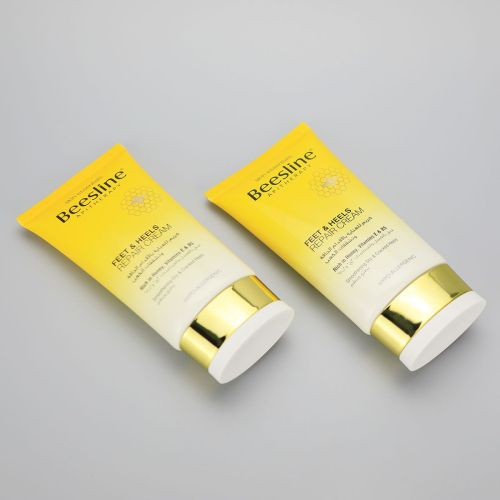 Luxury 30ml oval cosmetic plastic sunscreen tube with golden flip top cap