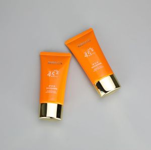 40g oval cosmetic plastic sunscreen tube skincare protection tube with golden snap on cap