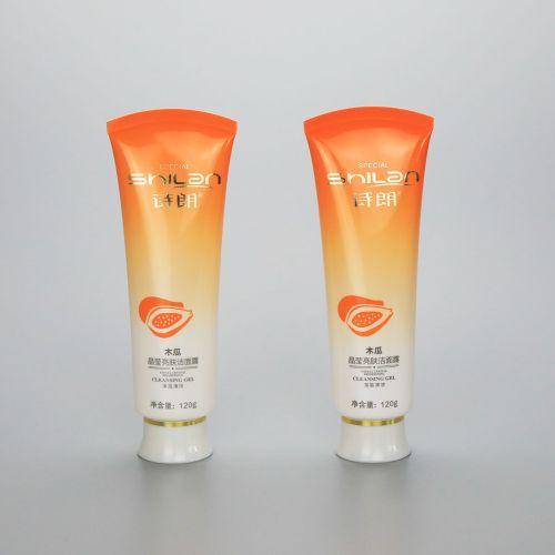 120g gradient orange plastic soft face wash tube plastic cosmetic tube with screw cap