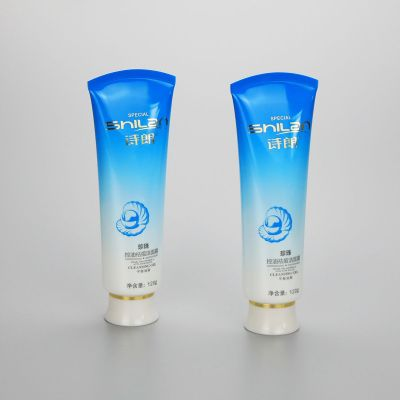 120g gradient blue plastic faccial cleanser tube plastic cosmetic plastic tubes with screw cap