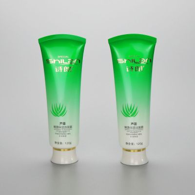 120g gradient green plastic facial cleanser tube cosmetic squeeze tubes with screw cap