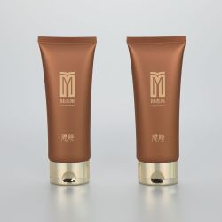 50g oval mask cream/ BB CC cream plastic cosmetics tubes with luxury golden flip top cap