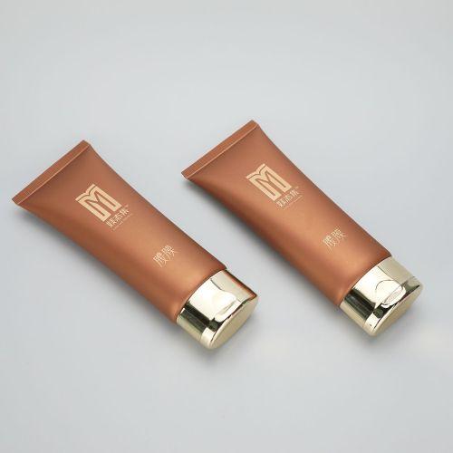 50g oval mask cream/ BB CC cream plastic cosmetics tubes with luxury golden flip top cap