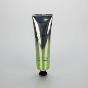 100g gradient color aluminum plastic facial cleanser tube glossy tube with black octagonal screw cap