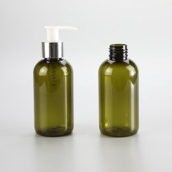 Boston round 150ml clear green short round bottle with lotion pump and a galvanized silver band