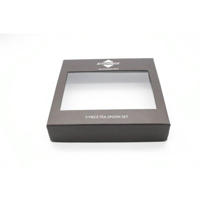 Free Sample Custom Logo Cap Paper Box with PVC Window for Tea Spoon