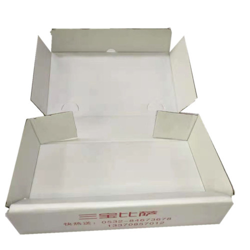 Wholesale Cheap Custom white corrugated foldable pizza paper box for mailing
