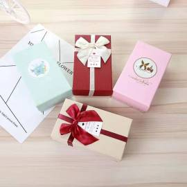 Custom heaven and earth white paper bow gift box