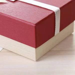Custom heaven and earth white paper bow gift box