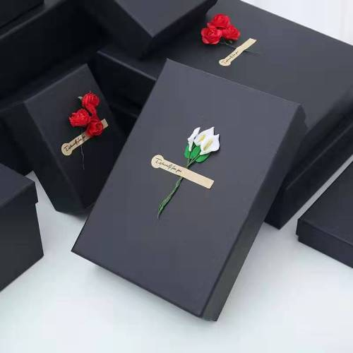 Custom Handmade Size Black  Rigid Cardboard Gift Box Packaging