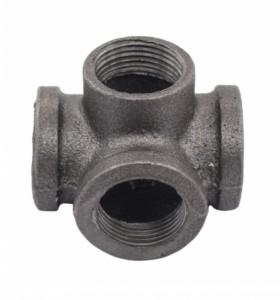 ISO9001 Standard Custom Malleable Iron Cast Pipe Fitting Black High Hardness Connector
