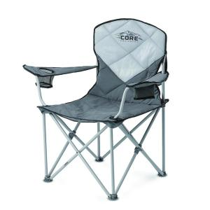 Portable armrest folding camping chair with storage pockets carry bag
