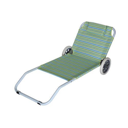 Steel Frame Beach Folding Sand Chair with Wheels-Cloudyoutdoor