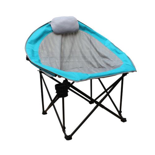 Metal Balcony Folding Saucer Moon Chair with Pillow-Cloudyoutdoor