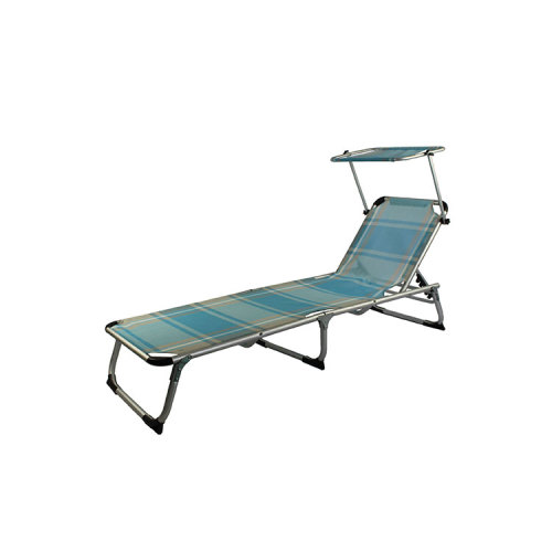 Folding Beach Lounger Swimming Chair Bed with Sun Shade-Cloudyoutdoor