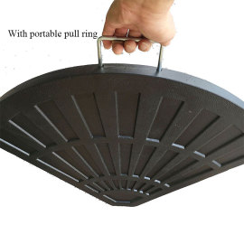 Patio fan shaped resin umbrella base suitable for any cross frame