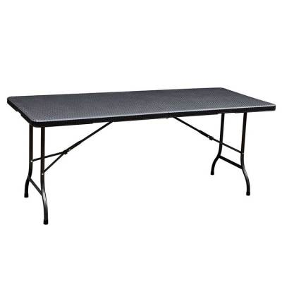 Rattan design 6' hdpe plastic outdoor folding 1 table and 2 benches
