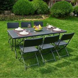 Cheap black outdoor 6' HDPE plastic outdoor folding 1 table and 6 chairs