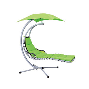Customized Modern Green Hanging Swing Chair with Stand-Cloudyoutdoor