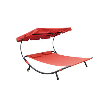 Double Sun Lounger with Canopy Swing Chair Outdoor-Cloudyoutdoor