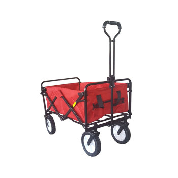 Garden Steel Double Layer Fabric Camping Beach Folding Wagon Trolley Cart-Cloudyoutdoor