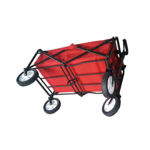 Garden Steel Double Layer Fabric Camping Beach Folding Wagon Trolley Cart-Cloudyoutdoor