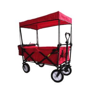 Double Layer Fabric Portable Folding Stroller Wagon with Canopy and Cooler Bag-Cloudyoutdoor