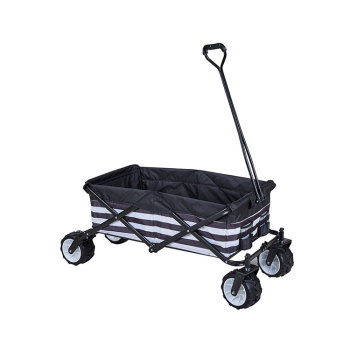 Garden collapsible multi-functional folding wagon four-wheels with solid metal frame