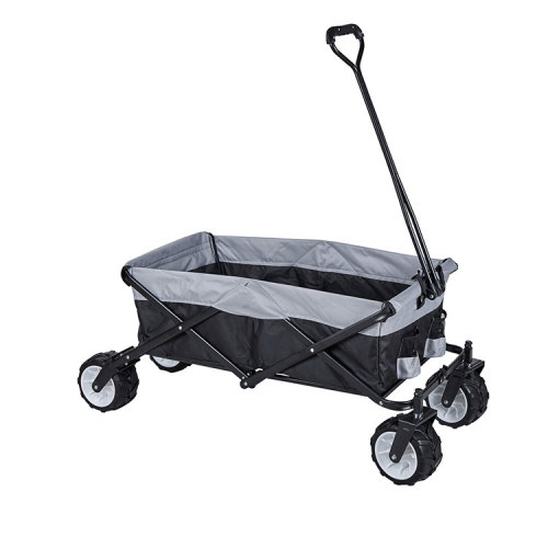 Garden Collapsible Multi-functional Folding Wagon Four-wheels with Solid Metal Frame-Cloudyoutdoor