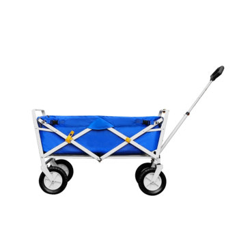D-shaped Handle Beach Wagon Folding 4 Wheel Hand Push Cart-Cloudyoutdoor