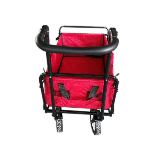 Large Capacity Metal Frame Beach Wagon Folding 4 Wheel Hand Push Cart-Cloudyoutdoor
