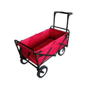 Large Capacity Metal Frame Beach Wagon Folding 4 Wheel Hand Push Cart-Cloudyoutdoor