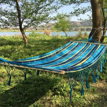Outdoor canvas outdoor swinging blue camping hammock cover