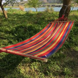 Outdoor Hanging outdoor camping swing hammock with wooden Stick