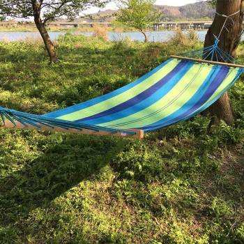 Outdoor hanging custom kids tree hammock swings with wooden Stick