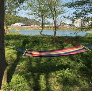 Travel canvas camping cotton tree hammock swing hanging with wooden stick