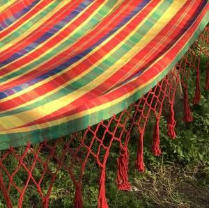 Cotton patio garden hammock swing chair hanging with wooden sticks