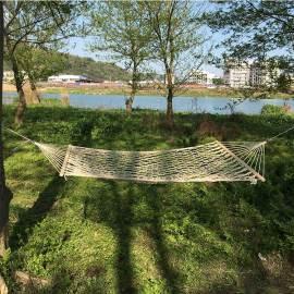 Lightweight portable cotton rope white net hammock