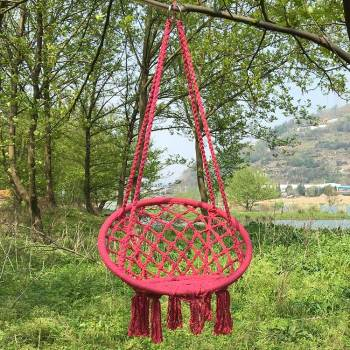 Red cotton kid garden beach hanging chair indoor hammock