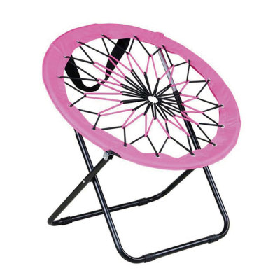 Durable Single Folding Saucer Bungee Chair Pink/Purple Zebra Print-Cloudyoutdoor