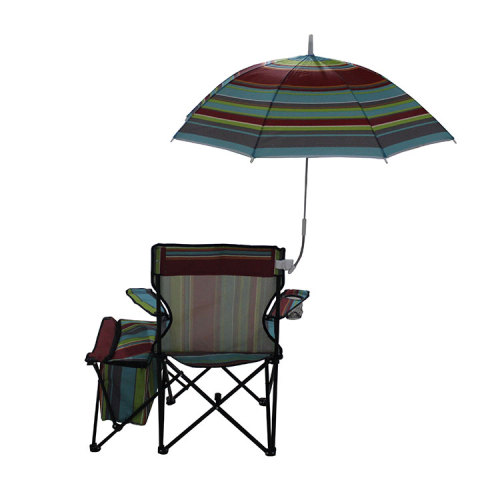 Folding Beach Camp Chair with Adjustable Canopy and Cooler Bag-Cloudyoutdoor